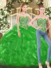 Top Selling Floor Length Green Sweet 16 Quinceanera Dress Tulle Sleeveless Beading and Ruffles