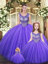 Unique Floor Length Lace Up Quinceanera Gowns Eggplant Purple for Military Ball and Sweet 16 and Quinceanera with Beading