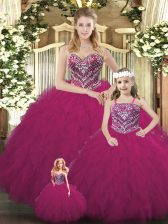 Popular Fuchsia Organza Lace Up Sweetheart Sleeveless Floor Length Ball Gown Prom Dress Beading and Ruffles