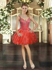 Ball Gowns Prom Dress Red V-neck Tulle Sleeveless Mini Length Lace Up