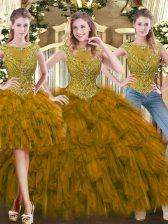 High Class Scoop Sleeveless Zipper Sweet 16 Dresses Brown Tulle