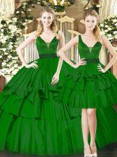 Dark Green Sleeveless Beading and Ruching Floor Length Sweet 16 Quinceanera Dress