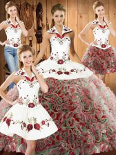 Multi-color Sleeveless Sweep Train Embroidery Quinceanera Gowns