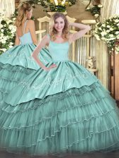 Blue Organza Zipper Straps Sleeveless Floor Length Sweet 16 Dresses Embroidery and Ruffled Layers
