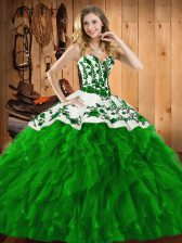 Satin and Organza Sleeveless Floor Length Quince Ball Gowns and Embroidery and Ruffles