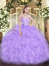 Lavender Organza Lace Up Vestidos de Quinceanera Sleeveless Floor Length Beading and Ruffles