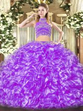 Top Selling Sleeveless Backless Floor Length Beading and Ruffles Quinceanera Dresses