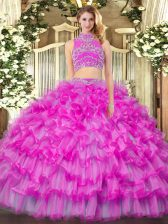 Luxurious Floor Length Two Pieces Sleeveless Lilac Quinceanera Dresses Backless