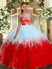 Dramatic Multi-color Sleeveless Organza Backless 15 Quinceanera Dress for Military Ball and Sweet 16 and Quinceanera