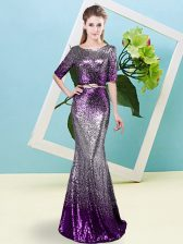 Classical Scoop Half Sleeves Evening Dress Floor Length Sequins and Belt Multi-color Sequined