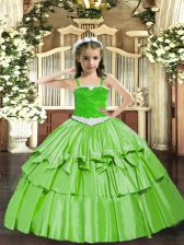 Trendy Floor Length Lace Up Little Girls Pageant Dress Wholesale for Party and Quinceanera with Appliques and Ruffled Layers