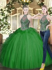 Fashionable Beading and Ruffles Sweet 16 Dress Dark Green Lace Up Sleeveless Floor Length