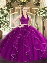 Floor Length Two Pieces Sleeveless Purple Ball Gown Prom Dress Zipper