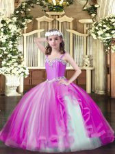 Straps Sleeveless Tulle Little Girls Pageant Dress Wholesale Beading Lace Up