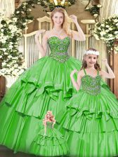 Green Lace Up Sweetheart Beading and Ruffled Layers Quinceanera Gown Organza Sleeveless