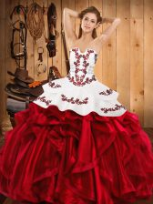 Free and Easy Wine Red Lace Up Strapless Embroidery and Ruffles Quinceanera Gowns Satin and Organza Sleeveless