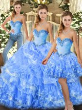 Discount Light Blue Three Pieces Organza Sweetheart Sleeveless Beading and Ruffles Floor Length Lace Up Ball Gown Prom Dress