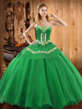 Super Sleeveless Lace Up Floor Length Embroidery Sweet 16 Dresses