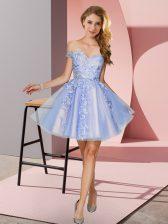 Lavender A-line Off The Shoulder Sleeveless Tulle Mini Length Zipper Appliques Quinceanera Court Dresses