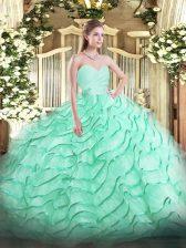Sweetheart Sleeveless Quinceanera Dresses Brush Train Beading and Ruffled Layers Apple Green Organza