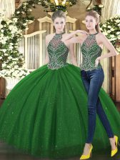 Sleeveless Floor Length Beading Lace Up Sweet 16 Dress with Dark Green