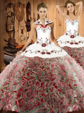 Multi-color Ball Gowns Halter Top Sleeveless Fabric With Rolling Flowers Sweep Train Lace Up Embroidery Quince Ball Gowns