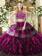 Fitting Fuchsia Ball Gowns Beading and Ruffles Quinceanera Gown Zipper Tulle Sleeveless Floor Length