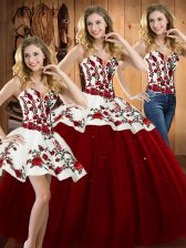 Deluxe Sleeveless Satin and Tulle Floor Length Lace Up Quinceanera Dress in Wine Red with Embroidery