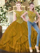 Floor Length Ball Gowns Sleeveless Brown Quinceanera Dresses Zipper