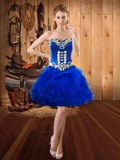 New Style Sweetheart Sleeveless Lace Up Prom Gown Royal Blue Organza