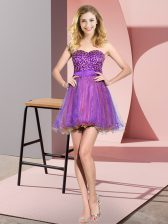 Super Multi-color Tulle Lace Up Quinceanera Court of Honor Dress Sleeveless Mini Length Beading and Sequins