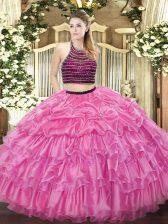 Rose Pink Sleeveless Beading and Ruffled Layers Floor Length Sweet 16 Dresses