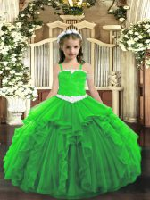 Pretty Sleeveless Tulle Floor Length Lace Up Little Girls Pageant Dress Wholesale in Green with Appliques and Ruffles