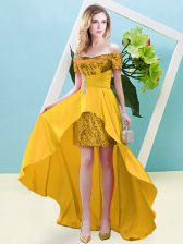 Suitable Gold Short Sleeves High Low Beading Lace Up Prom Party Dress