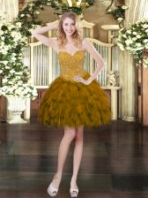 Mini Length Lace Up Prom Evening Gown Brown for Prom and Party with Beading and Ruffles