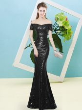 Discount Black Prom Party Dress Prom and Party with Sequins Off The Shoulder Short Sleeves Zipper