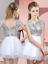 White Cap Sleeves Tulle Zipper Dama Dress for Quinceanera for Prom and Party and Wedding Party