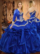 Chic Sweetheart Sleeveless Organza Quinceanera Gown Embroidery and Ruffles Lace Up