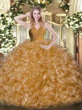 Custom Made Floor Length Brown Sweet 16 Quinceanera Dress V-neck Sleeveless Zipper
