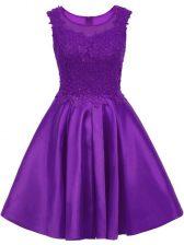Mini Length Purple Dama Dress for Quinceanera Scoop Sleeveless Zipper