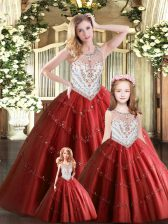 Custom Design Wine Red Lace Up Vestidos de Quinceanera Beading Sleeveless Floor Length