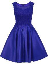 Scoop Sleeveless Satin Quinceanera Court of Honor Dress Lace Zipper