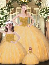 Affordable Sweetheart Sleeveless Lace Up Quinceanera Gowns Gold Tulle