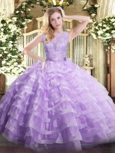 High Class Lavender Ball Gowns Organza Scoop Sleeveless Lace and Ruffled Layers Floor Length Backless Sweet 16 Quinceanera Dress