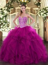 Sweetheart Sleeveless Lace Up Quinceanera Gown Fuchsia Organza