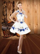 Ideal Mini Length Lace Up Evening Dress White for Prom and Party with Embroidery