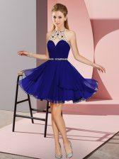 Blue Sleeveless Mini Length Beading Zipper Prom Dress