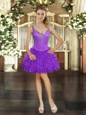 Eggplant Purple Ball Gowns Beading and Ruffles Dress for Prom Lace Up Tulle Sleeveless Mini Length