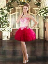 Luxurious Red Sleeveless Mini Length Beading and Ruffles Lace Up Homecoming Dress