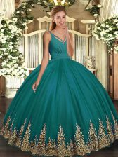 Floor Length Backless Sweet 16 Quinceanera Dress Turquoise for Military Ball and Sweet 16 and Quinceanera with Appliques